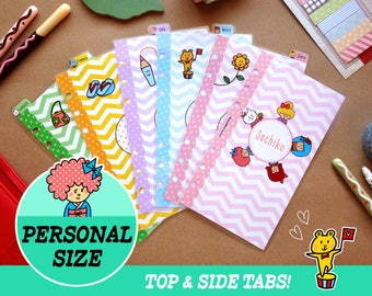 Personal Size Kokeshi Girls Dividers (Top & Side tabs) Filofax Personal, Louis Vuitton, Kikki.K 5 covers Printable PDF Instant Download