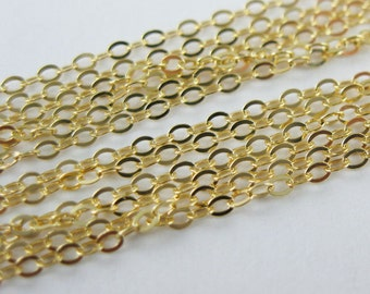 Vermeil-18K Gold Plated over Sterling Silver 2mm Flat Cable Oval Chain  (5 feet)  Sku: 101043-VM