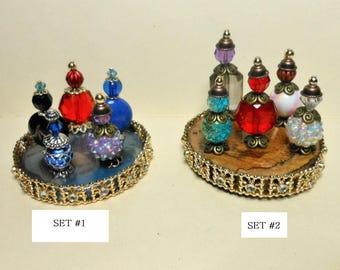Miniature Perfume/Potion Bottles-Choice of 2 Sets-OOAK-Doll House Perfume Bottle Sets