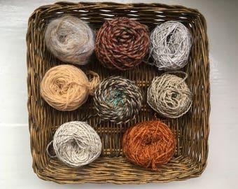 DESTASH- big grab bag assorted yarn 159g/5.6ounces browns, beige, neutrals GB0118-04