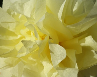 Four -4 Lemon Yellow & Silver Medium CONNECTING PuffScape DIY Tissue Paper Pom Pom Flower Puff Wired Sunshine Citrus Citrine Wedding Party