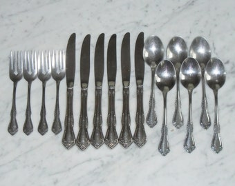16pc Wm A Rogers Deluxe Oneida MANSFIELD Stainless Knives Forks & Spoons