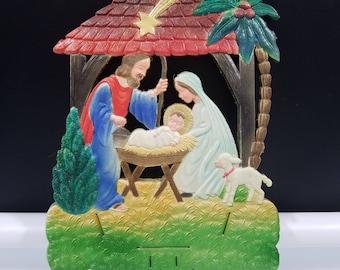 Nativity Manger Scene German Christmas Die Cut Embossed Calendar Top 1940s Vintage