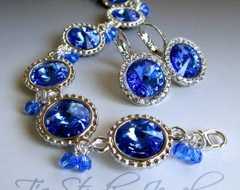 Sapphire Blue Rivoli Swarovski Crystal Bracelet