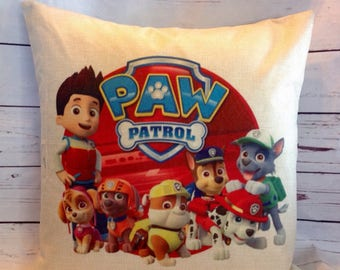 Paw Patrol Duck Feather pillow insert and Cotton Linen Cover, 18×18, Free Shipping.marshall,cute and fun pillow, kids