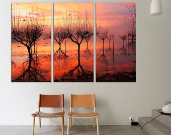 3 Panel  Canvas Split, tree branches submerging in water showing mirror reflection, wall art, Print on Canvas, Interior, wall art, canvas.