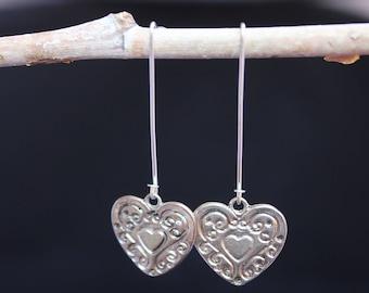 Unique Heart Earring,  Heart charm handmade earring,  Gift for her
