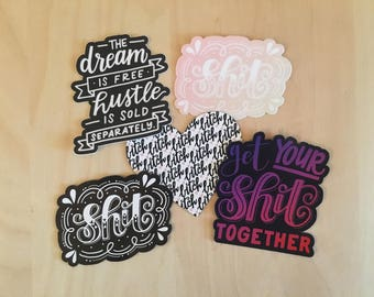 Hand-Lettered Package of Pretty Profanity - Magnets + Stickers