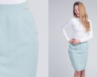 80s tailored A-line TULIP skirt 1980s GREEN High Waisted Vintage Pencil Skirt with side button detail and pockets Small, Medium, s, m