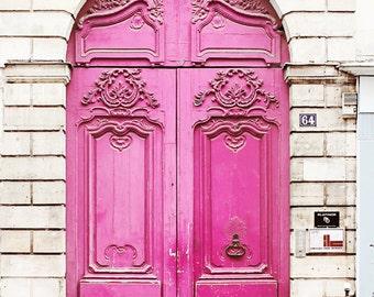 Neon Pink Door, Paris France - Home Decor Art Photography Print, Magenta, Brick, White, French, Travel, Girls Room, Feminine, Love,