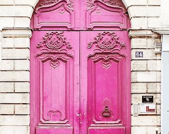 Neon Pink Door Paris France - Home Decor Art Photography Print Magenta Brick White French Travel Girls Room Feminine Love & Pink Paris Door Photo Neon Fluo Art Photo Print Old Worn