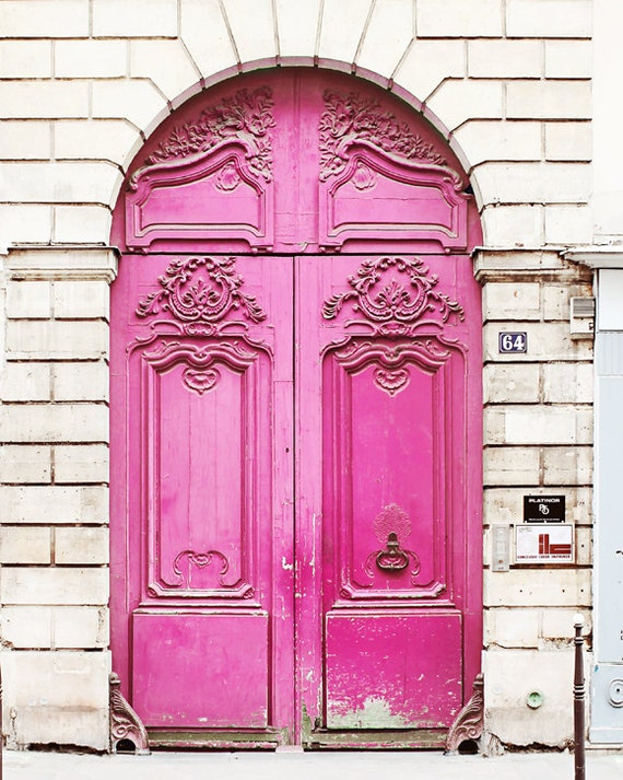 & Neon Pink Door Paris France Home Decor Art Photography