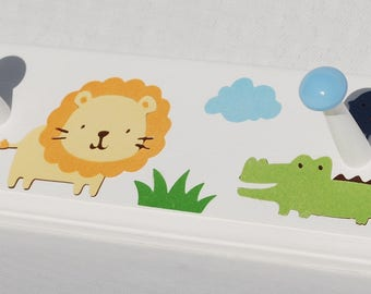 "Safari Coat Rack . Jungle Coat Rack . Elephant Lion Alligator Monkey . Personalized Wall Hooks . Baby Shower Gift . 24"" with 4 Shaker Pegs"
