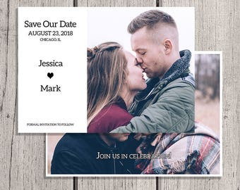 Save the Date Cards, Save the Date, Invitations, Photo Save the Date, Personalized Save the Date, Engagement Postcard