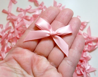 Pink Bows, Light Pink Satin Bow Appliques, Offray Light Pink Satin Bows X 10 pieces