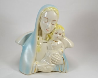 Vintage Mary and Jesus Planter, Madonna and Child Planter, Mother Mary Planter, Virgin Mary Planter, Catholic Decor, Spiritual Gift