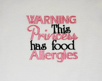 Allergy Applique Shirt- Princess Allergy Embroidered shirt- Girl Allergy Awareness Shirt- Princess Crown shirt- Allergy Warning Shirt