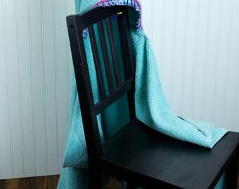owl hooded towel infant toddler child gender neutral gift pink and aqua