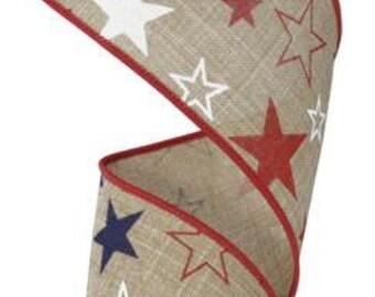 """2.5"""" Burlap Stars Ribbon, Royal Faux Burlap Star Ribbon, Wired Burlap Star Ribbon, Star Ribbon, Patriotic Ribbon (10 Yards) - RG1514KY"""