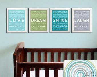 Typography art prints baby nursery art prints. Kids Wall Art. Inspiration quote prints for children art. SET of ANY 4 Nursery art by Wallfry