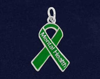 Mental Health Green Ribbon Charm in a Bag (1 Charm - Retail) (RE-C-29-13MH)