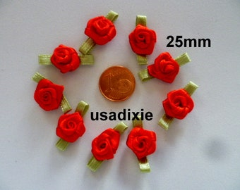 30 red 25mm satin flowers