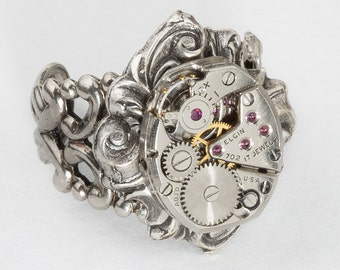 Steampunk Ring Vintage Elgin watch movement gears filigree ring, adjustable ring, Silver Statement ring, Cocktail ring, Steampunk jewelry