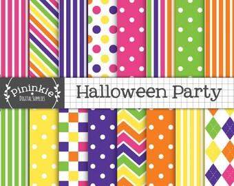 Halloween Digital Paper, Halloween Digital Scrapbook Paper, Bright Digital Background Paper, Polka Dot Instant Download Commercial Use