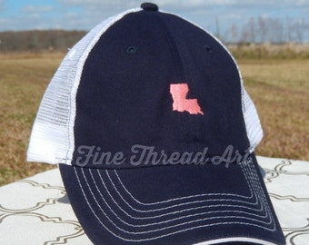 LADIES State Trucker Monogram Mesh Back Baseball Cap Hat Mom Bridesmaid Bride Bachelorette Summer Beach 50 States Louisiana Texas Carolina