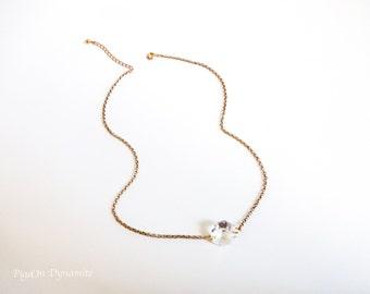 Simple Crystal Pendant Necklace-Vintage Prism Crystal Necklace Pendant-Simple Minimalist Necklace-Simple Crystal Necklace