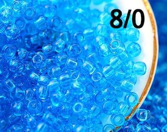 Blue Seed beads TOHO size 8/0 Transparent Dark Aquamarine N 3B rocailles blue glass beads - 10g - S833