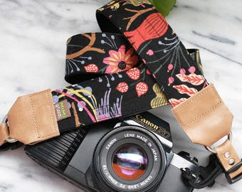 Rifle Paper Co. Camera Strap in NOIR with Side Release Buckles - 1.5 inches wide for DSLR Camera or Mirrorless Camera - Canvas Camera Strap