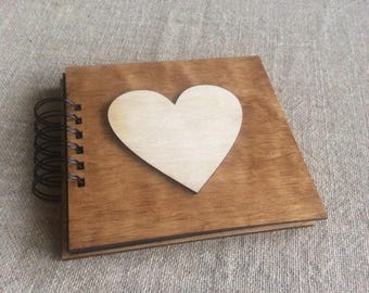 """photo album black pages, blank scrapbook album,  small wedding album, wooden cover album, 6 x 6"""" album, memory book"""