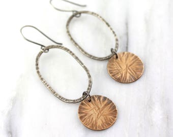 Textured Silver And Copper Statement Earrings