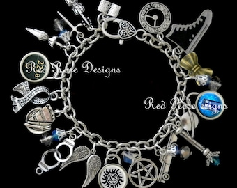 Superwholock Themed Charm Bracelet, Supernatural, Dr Who, Sherlock, Doctor Who