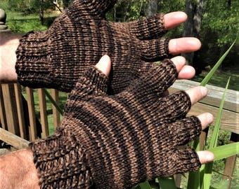Half Finger Gloves Hand Knit Men's Brown Tonal Merino Wool & Nylon Half Finger Gloves Men's Tonal Brown Hand Warmers Half Finger Knit Gloves