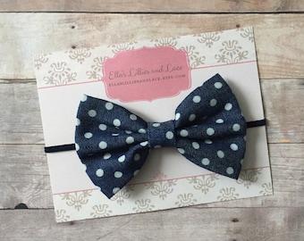 Navy Blue Baby Headband, Denim Baby Headband, Polka dot bow headband, Baby Hair Bow, Blue Baby headband, Hair Bow
