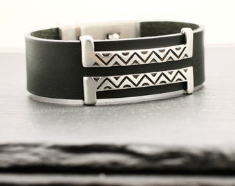 Leather Bracelet , Southwestern Bracelet , Leather Bangle , Mens Bracelet , Statement Bracelet , Silver Cuff , Leather Cuff , Amy Fine
