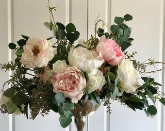 Shabby Chic Floral Arrangement Faux Flowers - Large Arrangement