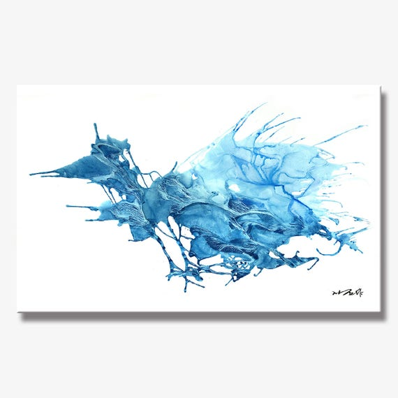 ICE SERIES   #3001, Large Stunning Abstract Blue Ice Painting, Artist-Signed, Giclee Fine Art Print, Contemporary, Acrylic, 10x16 - 36x60