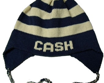 Personalized Earflap Hat - Stripes