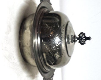 Host wafer dish, Catholic Silver, Silver Plate Covered Dish, Goth , Steampunk