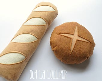 Market Fresh Bakery Bread, felt bread for pretend play or for decoration in the kitchen!