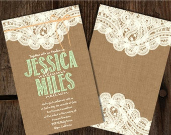 Custom Burlap and Lace Mint and Peach Wedding Invitations, Burlap Wedding Invitations, Lace Wedding Invitations, Burlap Invitations