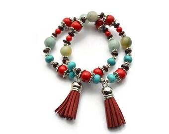Tassel bracelet. Tibetan jewelry stretchy bracelet. Ethnic bracelet. Bohemian jewelry. Gemstone bracelet. Buddhism. Statement bracelet
