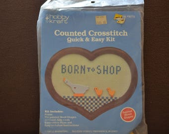 Counted Cross Stitch Kit/ Born To Shop/Hobby and Kraft/DIY Kits for Adults/Gift Kits/1987