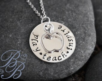 Personalized Jewelry - Hand Stamped Jewelry - Teacher's Necklace - Teacher's Jewelry - Teacher's Gift