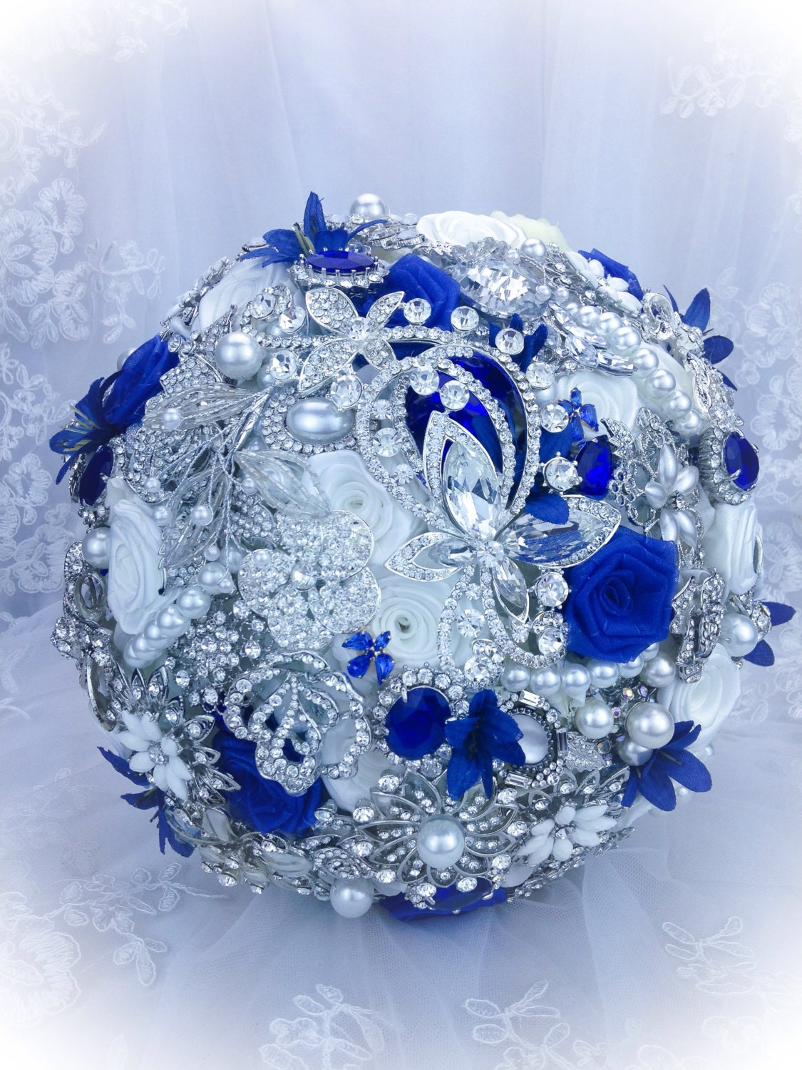 Luxurious Pure White Royal Blue Brooch bouquet. FULL PRICE