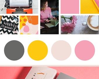 6 Piece Branding Design Kit | Branding Design Package | Pink Yellow Logo | Pink Gray Logo | Minimal Logo Design | Minimalist Logo Design