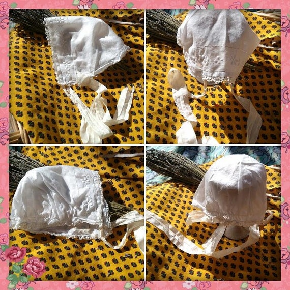 Victorian White Cotton Baby Hat Embroidered Lace Trim Hat Ribbon Straps Small Newborn or Doll Bonnet  #sophieladydeparis